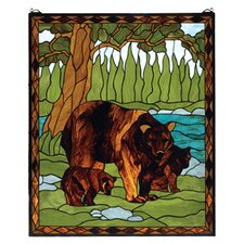 Lodge Animals Brown Bear Stained Glass Window