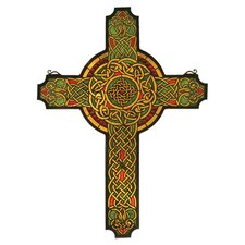 Religious Jeweled Celtic Cross Stained Glass Window