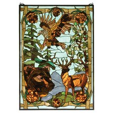 Rustic Lodge Animals Wilderness Stained Glass Window