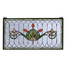 "14"" H Floral Nouveau Recreation Tulip and Fleurs Stained Glass Window"
