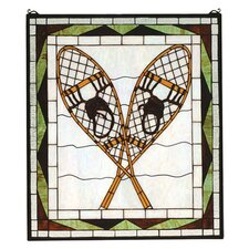 Rustic Lodge Recreation Snowshoes Stained Glass Window