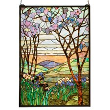Victorian Tiffany Magnolia and Iris Stained Glass Window