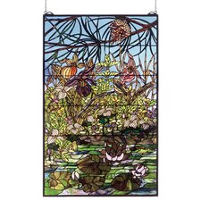 Lodge Tiffany Floral Woodland Lilypond Stained Glass Window