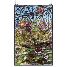 Lodge Tiffany Woodland Lilypond Stained Glass Window