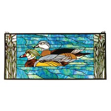 Lodge Floral Animals Country Wood Ducks Stained Glass Window