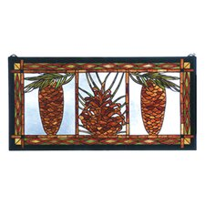 Rustic Lodge Northwoods Pinecone Stained Glass Window