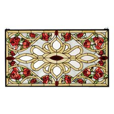 Victorian Tiffany Floral Nouveau Country Bed of Roses Stained Glass Window