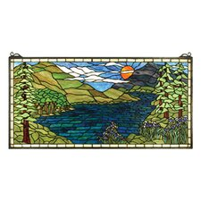Lodge Tiffany Floral Sunset Meadow Stained Glass Window