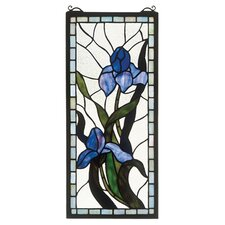 Tiffany Floral Nouveau Iris Stained Glass Window