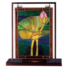 Floral Tiffany Pond Lily Lighted Mini Table Lamp