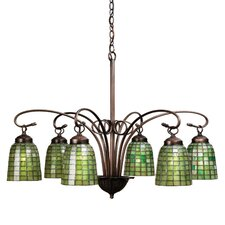 6 Light Victorian Tiffany Terra Verde Chandelier
