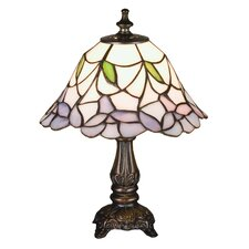 "Tiffany Floral Nouveau Daffodil Bell Mini 11.5"" H Table Lamp with Bowl Shade"