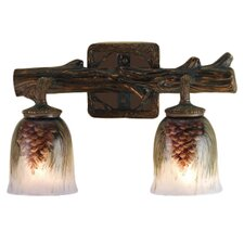 Northwoods Pinecone Hand Painted 2 Light Wall Sconce