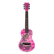 Checkered Winged Heart Acoustic Guitar