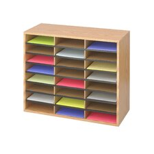 Wood Corrugated Literature Organiser 24 Compartment in Medium Oak