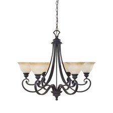 Barcelona 6 Light Chandelier with Ochere Glass