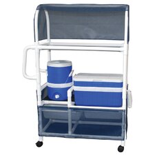 Hydration Cart with 48 Quart Ice Chest, 5 Gallon Water Cooler, Side Panels and Canopy