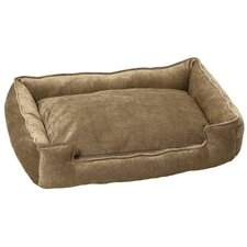 Micro-Velvet Lounge Bolster Dog Bed