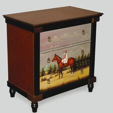 3 Drawer Chest with Painted Equestrian Scene