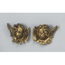 2 Piece Angel Faces Wall Décor Set