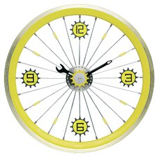 Bike Wall Clock with Aluminum Rim in Yellow