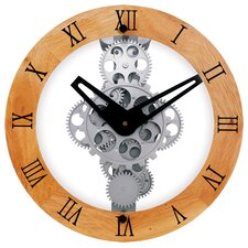 Wooden Moving Gear Wall Clock with Wooden Dial Ring