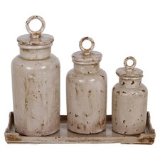 Lidded Urns and Tray Set