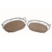 2 Piece Oval Tray Set