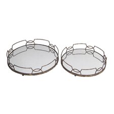2 Piece Round Iron Tray Set