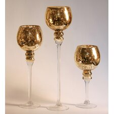 3 Piece Mercury Glass Stem Vases