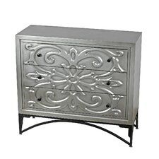 3 Drawer Accent Chest with Metal Base