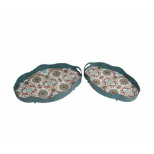 2 Piece Oval Iron Tray Set