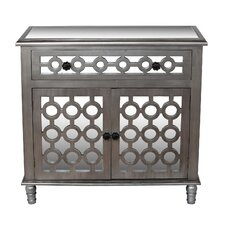 1 Drawer 2 Door Mirrored Accent Cabinet