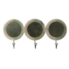 3 Hook Mirored Wall Hooks