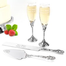 Wedding 4 Piece Champagne Flutes and Cake Server Set