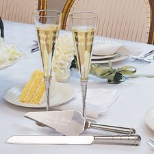 Wedding Champagne Flutes and Cake Server Set