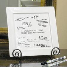 3 Piece Personalized Signature Square Platter and Easel Set