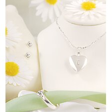 Sparkling Heart Locket Jewelry Set in Silver