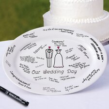 2 Piece Wedding Day Platter and Easel Set in White