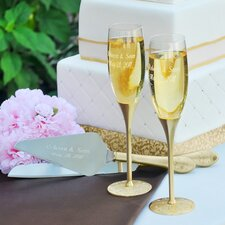 Gold Parisian Romance Champagne Flutes and Cake Server Set