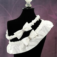 Silk Wedding Garter with Rhinestones in White