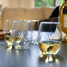 Circle Initial Stemless Wine Glasses (Set of 4)