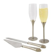 Silver Parisian Champagne Flutes and Cake Server Set