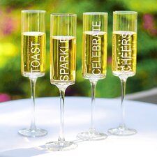 <strong>Cathys Concepts</strong> Celebrate! Contemporary Champagne Flutes (Set of 4)