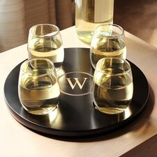 Round Wine Flight Sampler with 4 Piece Glass Set
