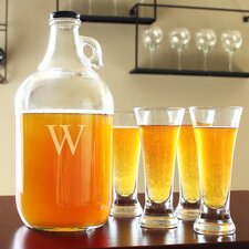 Personalized 5 Piece Craft Beer Growler and Taster Set