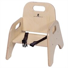 "7"" Wood Classroom Toddler Stackable Chair with Strap"