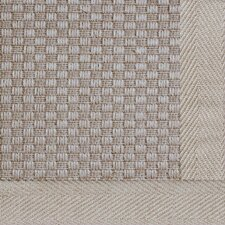 Jute Basketweave Medium Bordered Natural Outdoor Area Rug