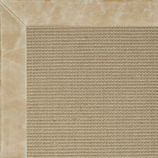 Jute Textured Boucle Leather Irish Bordered Cream Outdoor Area Rug