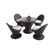 Martini 5 Piece Dining Set with Cushions